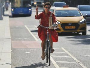 Временную велополосу сделали на Лесной улице. Фото: сайт мэра Москвы
